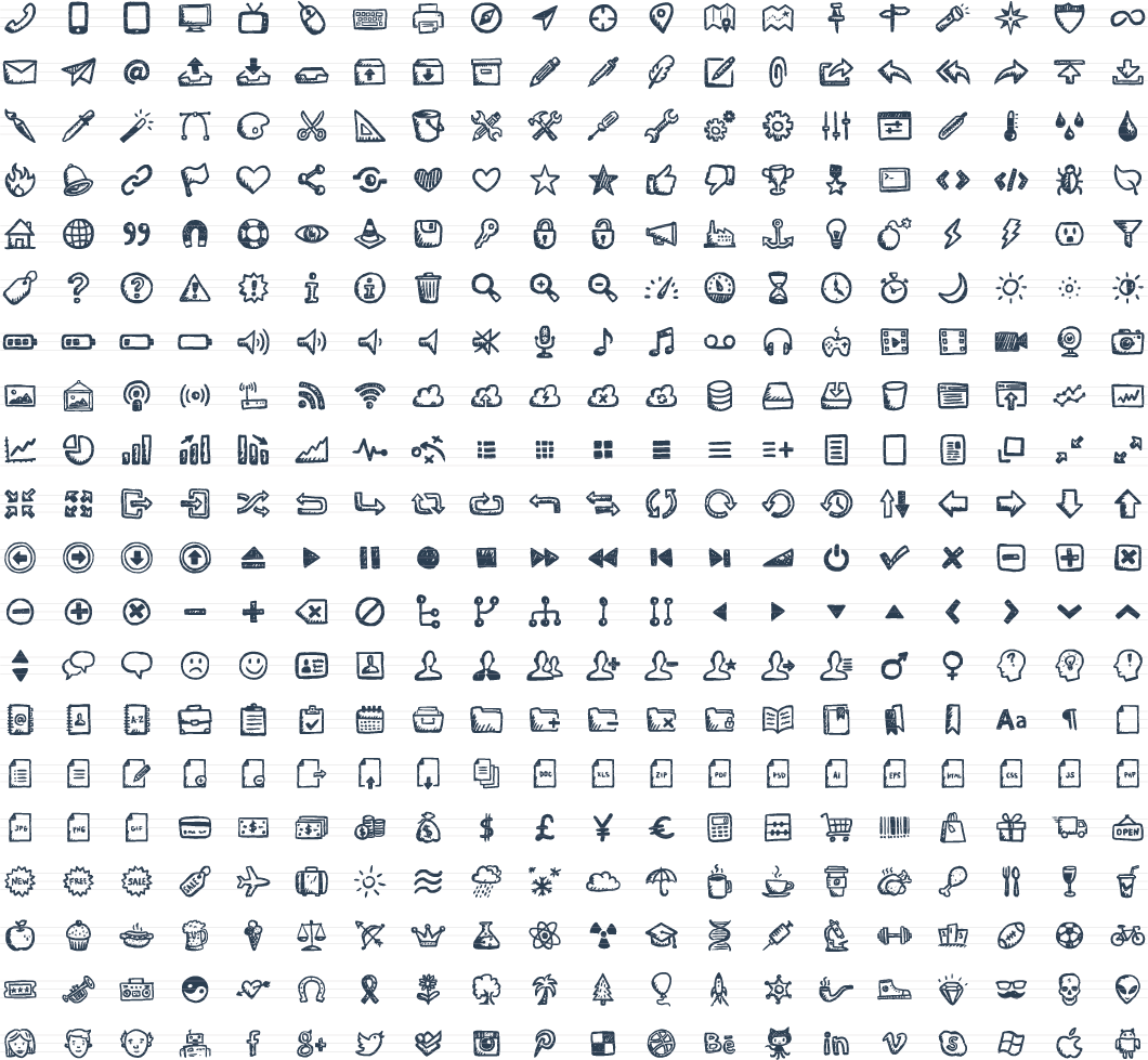 Jolly Icons – 400 Hand-Drawn Vector Icons